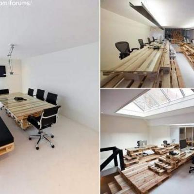 on peut pousser le concept encore plus loin, avec ce mobilier complet de bureau
