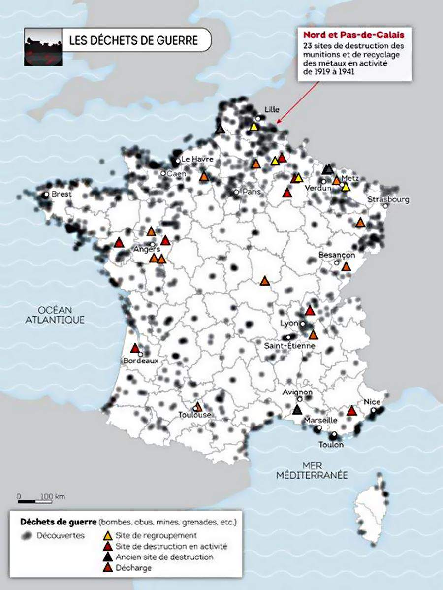 Carte Pollution Bordeaux.Carte De France Des Dechets De Guerre 900